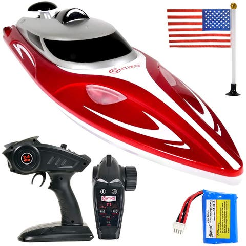 Contixo T1 RC Remote Control Racing Boat High-Speed Pool Toy Ship (Red)