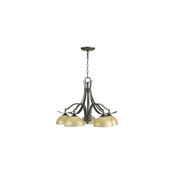 Quorum International 6496 5 Atwood Light 1 Tier Down Lighting Chandelier Oiled Bronze