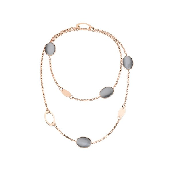 Zoccai 925 Slate Quartz Link Necklace in Rose Gold-Toned Sterling Silver - grey