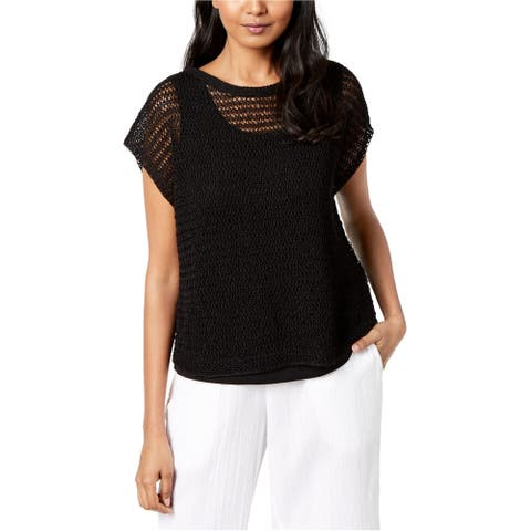 Eileen Fisher Womens Open Knit Pullover Sweater black L