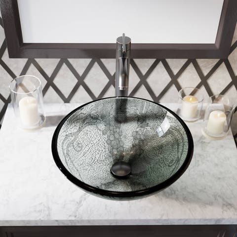 624 Vineyard Glass Sink, Antique Bronze Faucet, Sink Ring, Popup Drain