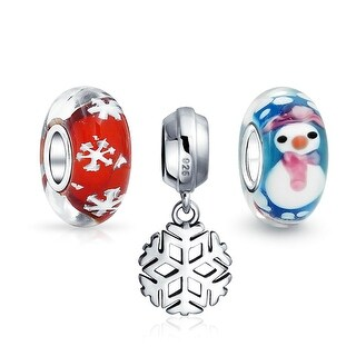 Bling Jewelry Set of 3 Bundle Snowflake Dangle Snowman Murano Glass Red white Snow Theme Charms .925 Sterling Silver