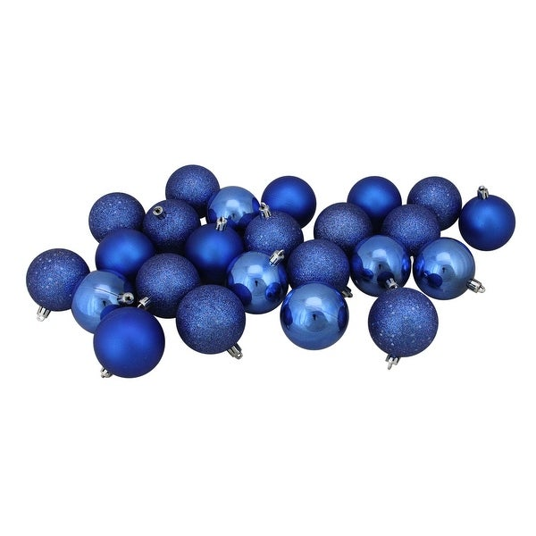 "24ct Lavish Blue Shatterproof 4-Finish Christmas Ball Ornaments 2.5"" (60mm)"
