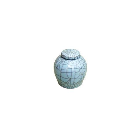 Crackle Lidded Ming Round Decorative Jar