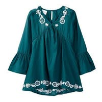 Azul Girls Slate Blue Bell Sleeve Embroidered Tunic Cover Up