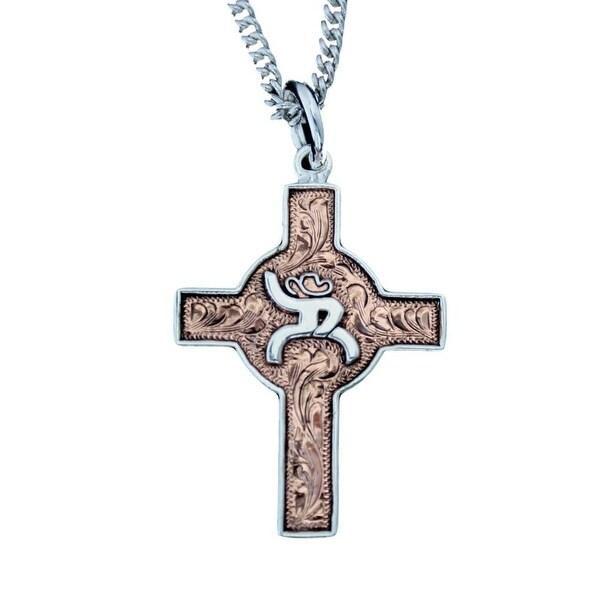 """HOOey Western Necklace Women 1 1/2"""" Cross Silver Roughy HY316-001 - silver copper"""