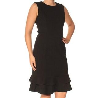Womens Black Sleeveless Knee Length Sheath Wear To Work Dress Size: 6