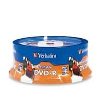Verbatim DVD-R, 96191, 4.7GB, 16X, White Inkjet Printable, 25PK Spindle, TAA