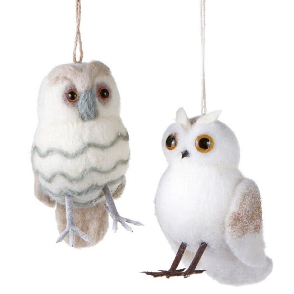 """Urban Nature Striped Cream Puff Owl with Champagne Glitter Beads Christmas Ornaments 5.5"""" - WHITE"""