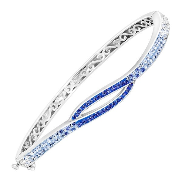 Crystaluxe Bangle with Royal Blue & White Swarovski Elements Crystals in Sterling Silver - multi-color