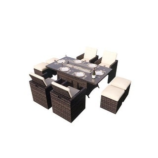 Link to 9-Piece Outdoor Rectangle Gas Fire Table Patio Wicker Dining Set Similar Items in Outdoor Dining Sets