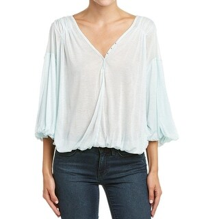 Free People NEW Blue Womens Small S Draped Peaks Island Henley Blouse