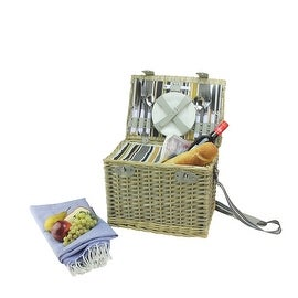 4-Person Hand Woven Warm Gray and Natural Willow Insulated Picnic Basket Set with Accessories