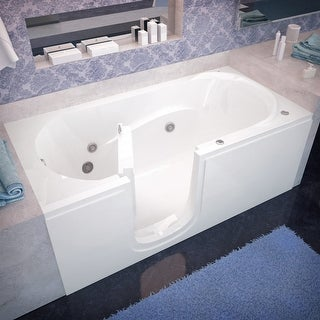 """Avano AV3060SILH Step-In Tubs 59-5/8"""" Acrylic Whirlpool Bathtub for Alcove Installations with Left Drain - White"""