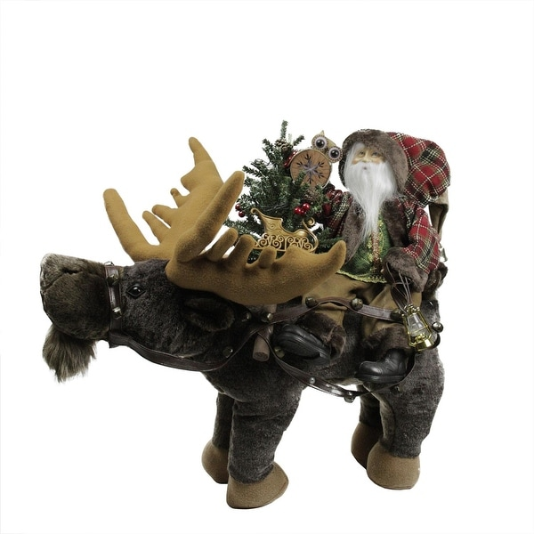 """30"""" Country Rustic Santa Claus sitting on Moose Decorative Christmas Figure - RED"""