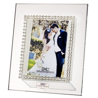 5th Avenue Collection Italian Glass Picture Frame with Swarovski Crystals Double Border with Gold Accents