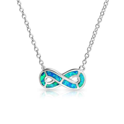 Infinity ever Love Blue Created Opal Pendant Necklace Sterling Silver - 18.5