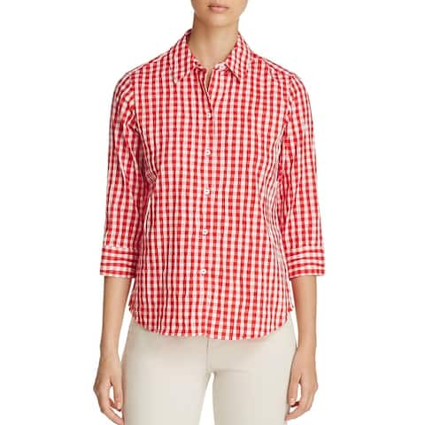 Foxcroft Womens Sue Button-Down Top Crinkle Plaid