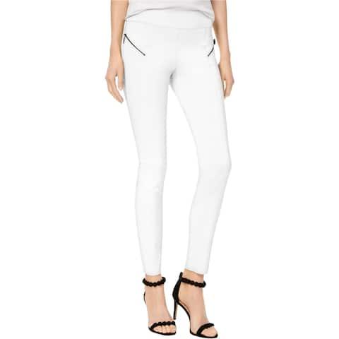 I-N-C Womens Moto Casual Trouser Pants, White, 6