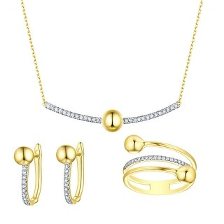 Prism Jewel 0.30 TCW Round G-H/SI1 Natural Diamond Necklace,Ring and Earring Set,14k Gold