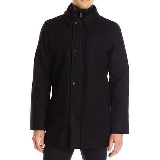 Calvin Klein NEW Black Mens Size 2XL Full-Zip Snap-Button Car Coat