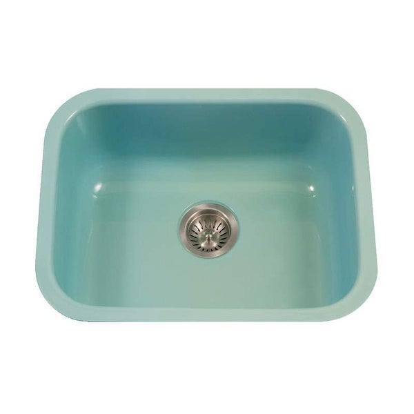 "Houzer PCS-2500 Porcela 22-3/4"" Single Basin Undermount Porcelain Enameled Kitchen Sink with Sound Dampening Technology -"