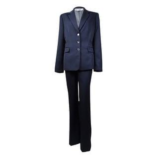 Tahari Women's Marlene Notch Lapel Three Button Stripe Pant Suit