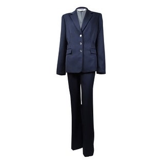 Tahari Women's Marlene Notch Lapel Three Button Stripe Pant Suit