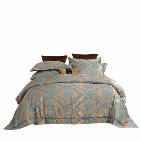 Duvet Cover with Radiant Jacquard Top 6 Pieces Set and 100% Cotton Inside