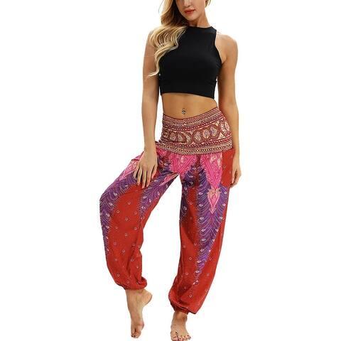 Ethnic Printed Harem Yoga Pants Smocked Waist Bloomers Dance Pants