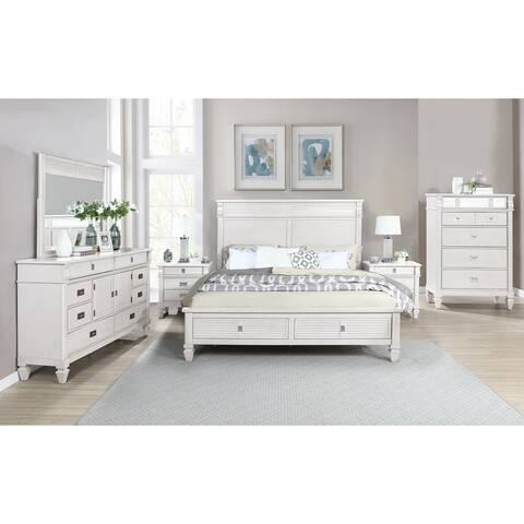 York Wood Antique White Bedroom Set with Storage Platform Bed, Dresser, Mirror, Two Nightstands, and Chest