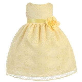 Baby Girls Yellow Floral Lace Flower Girl Dress 6-24M