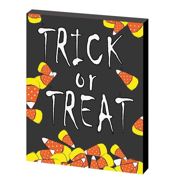 "10"" Candy Corn ""Trick Or Treat"" Hanging Plaque - 8-inchx10-inch"