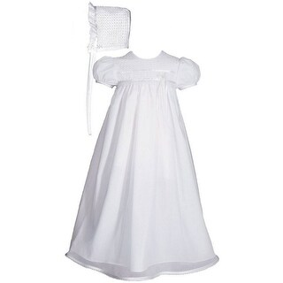 Baby Girls White Poly Cotton Tricot Overlay Bonnet Christening Dress Gown
