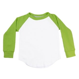 Unisex Baby Lime Green Two Tone Long Sleeve Raglan Baseball T-Shirt 6-12M