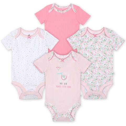 Just Born® Baby Girls' 4-Pack Organic Short Sleeve Lil' Llama Bodysuits - Pink/White