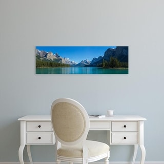 Easy Art Prints Panoramic Image 'Maligne Lake with Canadian Rockies, Jasper National Park, Alberta, Canada' Canvas Art