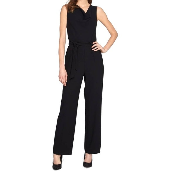 e702b849d956 Shop Tahari By ASL NEW Black Women s Size 4 Cowl Neck Crepe Jumpsuit - Free  Shipping Today - Overstock - 20221278