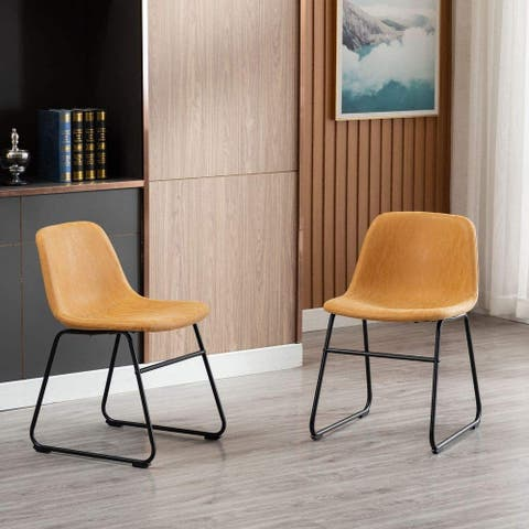 Home Beyond Set of 2 Pcs Synthetic Leather Upholstered Dining Chairs Armlesss with Metal Frame UC-13T