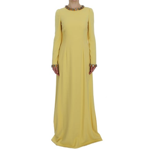 Dolce & Gabbana Dolce & Gabbana Yellow Silk Crystal Embellished Gown Dress - it40-s