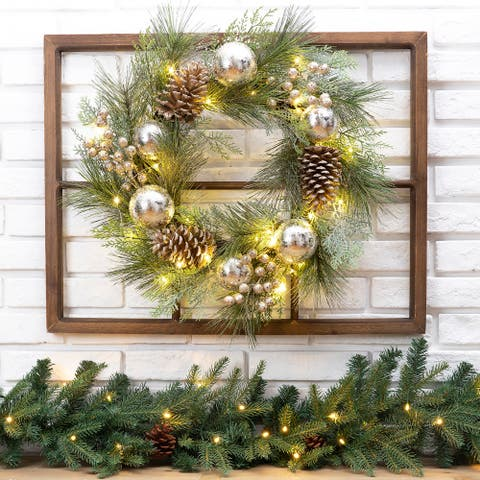 """24""""D Pre-Lit Ball Berry Holly Pinecone & Ornament Wreath with Brown Window Frame Set"""