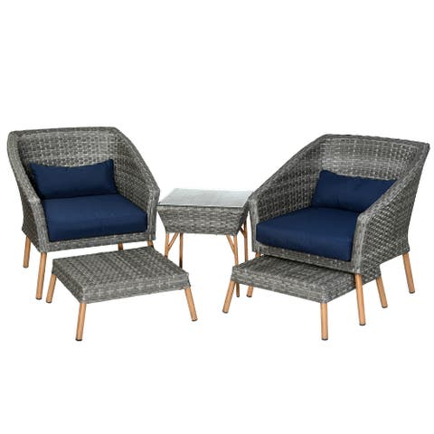 5-Piece Gray All Weather PE Wicker Furniture Set - N/A