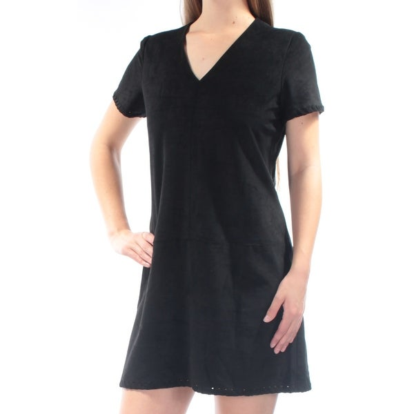 9e58d51b Shop CATHERINE MALANDRINO Womens Black Faux Suede Short Sleeve V Neck Mini Sheath  Dress Size: 8 - Free Shipping On Orders Over $45 - Overstock - 21690488