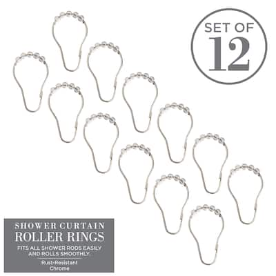 Bath Bliss 12 Pack Shower Curtain Rings in Clear