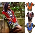 Unisex Ethnic Print Womens Plus Size Summer Casual Loose Short Sleeve Blouse Kaftan Tops T-shirt - Thumbnail 9