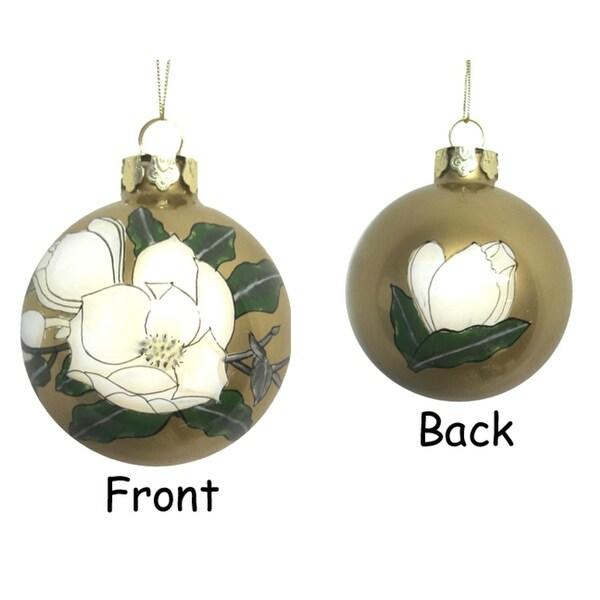 """3.25"""" Gardenia Flower Hand Blown Glass Ball Christmas Ornament"""