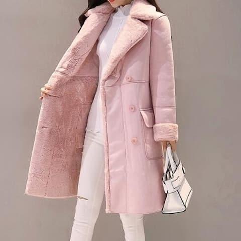 Women's Fleece Lapel Open Front Long Cardigan Coat Faux Fur Warm Winter Outwear Jackets With Pockets