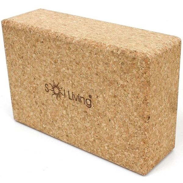 "Sol Living Yoga Block - High-Density Brick - Cork, 3"" x 6"". Opens flyout."