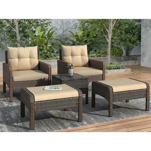 SuperBrite 5-Piece PE Rattan Wicker Outdoor Patio Furniture Set with Glass Table
