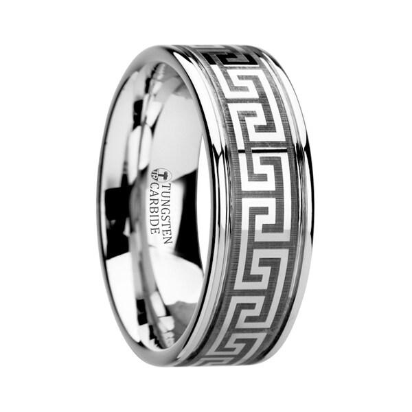 THORSTEN - THASOS Grooved Tungsten Carbide Wedding Band with Greek Key Meander Design